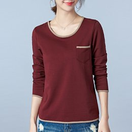 $enCountryForm.capitalKeyWord NZ - Women T-shirt Solid Long Sleeve Casual Cotton Tee Plus Size XXXL Undershirt Atacado Roupas Femininas Lady Clothes Tees&Tops