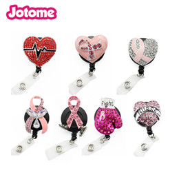 yoyo Australia - 10pcs lot random mix RN style brooch medical yoyo retractable badge pull reel nurse Breast Cancer Awareness pink ribbon Id working holder