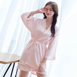 2018 Summer New Ladies Simulation Silk Striped Pajamas Sexy Suspenders  Shorts Home Service 3 Piece Robe Nightgown Pajamas Sets 60b171f39