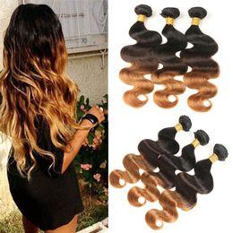 bundles hair 16 18 24 2019 - 3 Bundles 300g Peruvian Ombre Real Body Wave Weft 100% Human Hair Extensions T1B 4 30 Free Shipping cheap bundles hair 1