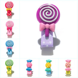 Retail Hair Clips NZ - Retail 20pcs+ Lovely Pink Candies Cartoon Cloth Wrapped Hairpins GirlsHeadwear Hair Accessories PVC+Clips Kid Gift Party Favors Hair Jewelry