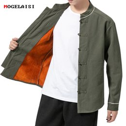chinese coat l NZ - Chinese Style Mens Jackets Linen winter jacket fleece Retro Men Coat Buttons Jacket Men Solid Autumn Warm size M-5XL