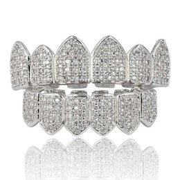 pave diamond white gold 2019 - Hip Hop 18K Gold Plated Macro Pave CZ Iced-out Grillz With EXTRA Molding Bars Included Wholesale cheap pave diamond whit