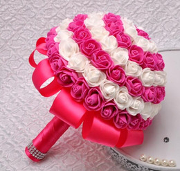bridal bouquet pink 2019 - PE Foam Rose Bridal Bouquet Artificial Rose Flower Wedding Bouquet Holding Flower For Wedding Accessories Multi Colors c