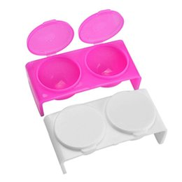 Mix For Nail UK - 2pcs Double Hole with Lip Dish Bowl Cup Containers for Mixing Acrylic Powder Plastics Nail Art Manicure Tools DIY Nail Art Tools