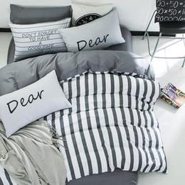 Bedsheet Cotton White NZ - 4pcs 100%cotton white grey stripe kids boys bedding set twin queen size bedcover set fit bedsheet duvet cover pillowcases