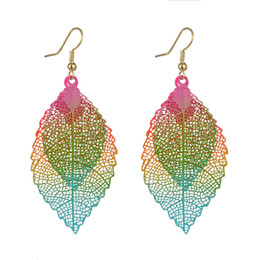 $enCountryForm.capitalKeyWord Canada - Fashion Women Colorful Double Layer Leaves Earrings Jewelry Ear Pendant Gift Bohemian Drop Earrings Ear Stud Support FBA Drop Shipping H214F
