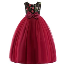 $enCountryForm.capitalKeyWord UK - Red flowers flower girl dresses o-neck short sleeve puffy dresses pageant dresses for little girls free shipping