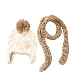 Baby Boy Skull Crochet Beanies Australia - Toddler Kids Girl Boy Baby Infant Winter Warm Crochet Cap Knit Hat Scarf Two Set 181025