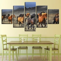 hd painting horse run Australia - Decor For Living Room HD Printing Pictures Wall Art 5 Pieces Animal Horse Family Running Natural Scenery Modular Canvas Painting