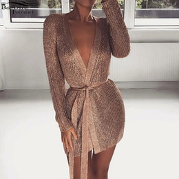 robe sexy v Canada - Bonnie Forest Sexy Shimmer Fitted Robe Dress Women Metallic Crochet Knit Cardigan Deep V Neck Long Sleeved buttocks Mini Dress