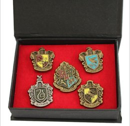 Discount harry potter colleges - 5PCS 1SET Harry Potter College Badge Brooch Magical School Pin Gryffindor Ravenclaw Slytherin Hufflepuff Brooches Christ