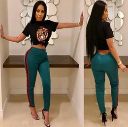 Tiger sporTswear online shopping - Tiger Head Printed Tracksuit Women Summer Striped Tees Long Leggings Sportswear Top Pants Set Set Gym Clothing OOA5334