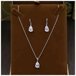 Pendant Clasp For Earrings Australia - Cubic Zircon Elegant Pendant Set Anniversary Earrings Necklace Accessories Wedding Jewelry For Bridal Rhinestone Necklace Set