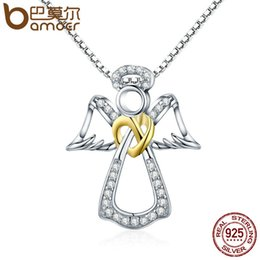 Guardian Angel Chain NZ - Bamoer Authentic 925 Sterling Silver Guardian Angel Heart Pendant Necklaces Dazzling Cz Luxury Sterling Silver Jewelry Scn123