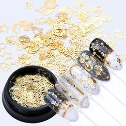 Christmas Bottle Designs Australia - 2018 1 Bottle 3D Gold Metal Lovely Nail Art Decoration Christmas Snowflake Star Mixed Design Hollow Tiny Slice Nail Accessories