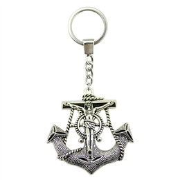 Anchor Rings For Girls Australia - 6 Pieces Key Chain Women Key Rings Fashion Keychains For Men Jesus Anchors 63x60mm