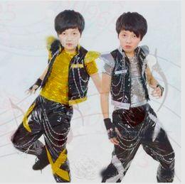 children drum set 2019 - Kids Children Hip Hop Clothing Set Jazz Hip-hop Drum Dance Costume Boy Fashion Korean Modern Hip Hop Shirt Jacket Pants