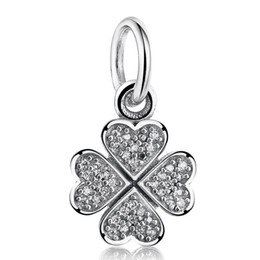 $enCountryForm.capitalKeyWord UK - New Authentic 925 Sterling Silver Pave Crystal Clover Dangle Charms Pendant DIY Jewelry Making Fits Brand Charm Bracelet & Necklace HB476
