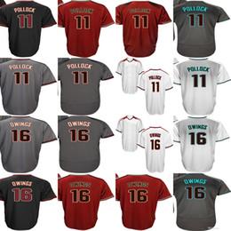 Baseball Arizona Canada - Arizona Mens 16 Chris Owings 11 A. J. Pollock Grey White Black Red Coolbase High Quality Baseball Jerseys