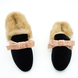 2017 Women Bow Velvet Rabbit Fur Slides Ladies Mules Chiara Ferragni Furry  Slippers Flats Heel Platform Slipony Sandals Shoes 8185f98532ad