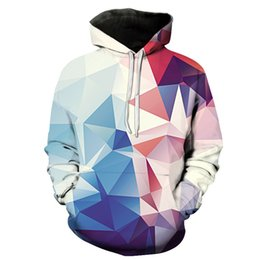 Geometric Hoodie Canada - The new European geometric digital print hooded pocket hoodies sweater hooded male male tide