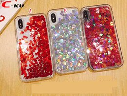 Shiny cell phone caSeS online shopping - For Iphone XR XS Max XS X S Plus Bling Quicksand Liquid Soft TPU PC Case Flowing Dynamic Shiny Love Heart Cell Phone Skin Cover
