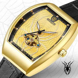 Luxury Men Watch Tourbillon NZ - wengle New tevise spider Square Men Luminous waterproof Belt Tourbillon Automatic casual luxury gift dress Mechanical watches