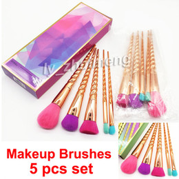 rose gold makeup brush set Australia - Makeup brushes sets cosmetics brush 5 pcs bright colors Rose Gold Spiral shank make up brush tools Powder Contour brushes DHL free shipping