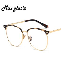 Discount vintage metal glasses frames - Big Spectacle Metal Frames Women Men Optical Frame Round Transparent Glasses With Clear Glass Vintage Eyeglasses