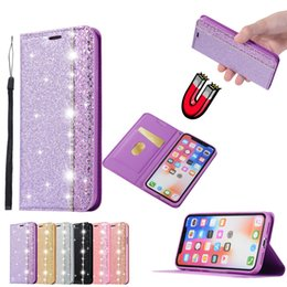 bling note Australia - Magnetic Bling Diamond Flip PU Leather Wallet Case TPU Cover For iPhone X XR XS Max 8 7 6 6S 5 SE Samsung S7 Edge S8 S9 Plus Note 9 Note9