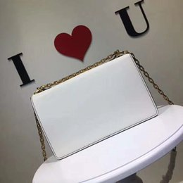 Gold white hand baG online shopping - Flap Bag with Chain in Calfskin Leather Carried in Hand Aged Gold Tone Metal Jewellery come with dust bag