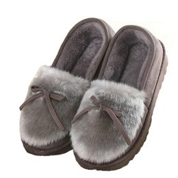 $enCountryForm.capitalKeyWord Australia - 2018 Autumn Winter Women Ballet Flats Lovely Bow Warm Fur Comfort Cotton Shoes Woman Loafers Slip On Size 40