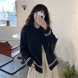 $enCountryForm.capitalKeyWord NZ - Hzirip Sweet Knitted Sweater 2018 Autumn Winter Preppy Style Women Tops Warm Soft Loose Cardigan Casual Sweaters Cotton Clothing