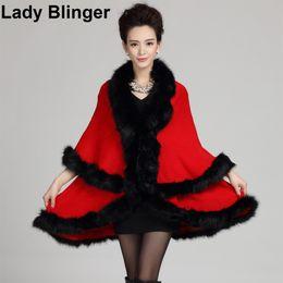 $enCountryForm.capitalKeyWord UK - New double layer faux fox fur knitted cape imitation fur poncho multi colors pashmina bride fur wraps