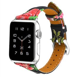 Wholesale NEW mm mm Genuine Leather Flower Printing Watch Bands Smart Wrist Straps with Metal Buckle for Apple iWatch Series Replacement