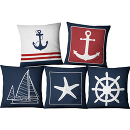 Marine yellow online shopping - Blue Boat Anchor Mariner Maritime American Marine Style Linen Pillow Set Home Fabric Sofa Mediterranean cushion decorative throw pillows