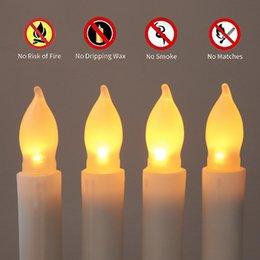 Ingrosso 12 PCS / Set 2.1 * 16.5cm Candele senza fiamma a LED cono candele per le chiese di compleanno di nozze Decorazioni per feste di Natale