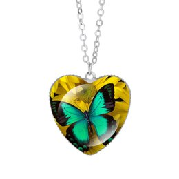 $enCountryForm.capitalKeyWord NZ - Blue Butterfly Flowers Pendant Necklaces 25mm Heart Crystal Glass Cabochon Silver Women Charm Jewelry Colorful Gifts Wholesale