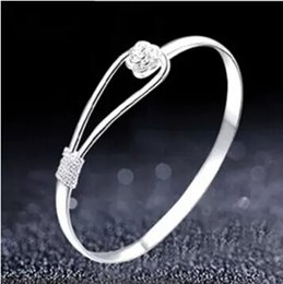 Großhandel Romantische Blume Armband 925 Sterling Silber Armband für Frauen Fahion Sakura Armbänder Open Cuff Bangle Rose Armbänder Hochzeit Schmuck