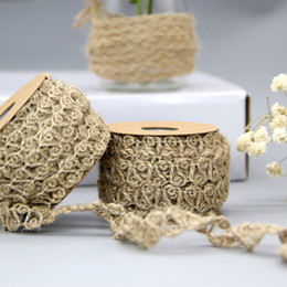 christmas burlap ribbon 2018 10m roll wide 1cm liene rope hollow out design natural burlap