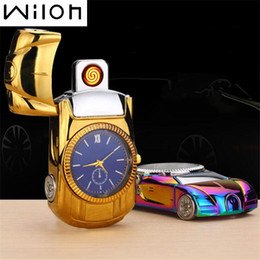 Discount cool toys cars - 2018 Watch Lighter for gold Car model steel Men's toys collection cool Flameless Watch USB Charging ligther Clock Q