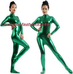 Discount sexy green catsuit - Sexy Body Suit Costumes Unisex Green Shiny Lycra Metallic Suit Catsuit Costumes No Head Hand Halloween Fancy Dress Cospl