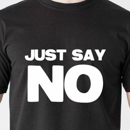 595811f3 JUST SAY NO drinking jail gang black teen dumb vintage retro Funny T-Shirt  Cotton Tees Free Shipping