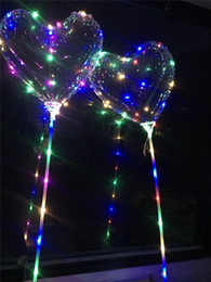 Wholesale Heart Shaped Balloon NZ - Love Heart LED Luminous Balloon BoBO Ball Light Up Transparent Hear Shape 3Meters Balloons With Pole Toys for Valentines Day Wedding Party