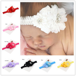 Discount baptism hair accessories 5pcs Hair flower baby headband bows baby headbands baptism Christening Gifts Cute Baby headwear Accessories