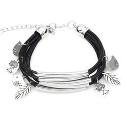 Discount tree love bracelets - 2018 New Handmade Multilayer Braided Leather Bracelet Female Leaf Tree of Life Love Bird Friendship Bracelets for Women
