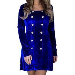 Square Collar Buttons Office Work Women Velvet Mini Dresses 2018 Winter  Elegant Female Long Sleeve Straight Velour Dress GV297 51d582f4bd7e