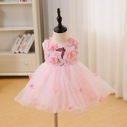 VENDITA CALDA DMfgd Pink Cute Baby Girls Dress New Fashion Landscape Print Flower Girl Dress Per la festa di compleanno di nozze Gir neonato