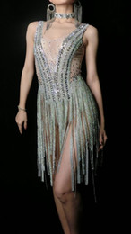 Discount evening women costume - Sparkly Silver Rhinestones Fringes Dress Women Birthday Celebrate Bodysuit Costume Tassel Bodysuit Performance Evening W